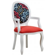 Cadeira Medalhão III Lisa com Braço - Branco com Composê Vermelho e Azul