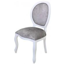 Cadeira Medalhão III Lisa - Branco com Veludo Brilhante Cinza