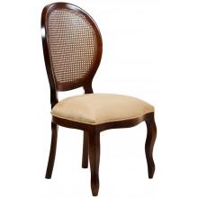Cadeira Medalhão III Lisa com Encosto em Tela - Imbuia e Creme