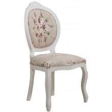 Cadeira Medalhão IV Entalhada - Branca e Floral Rosa Centralizado + Cores