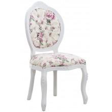 Cadeira Medalhão IV Entalhada - Branca e Ramo Rosa Sombreado + Cores