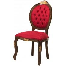 Cadeira Medalhão IV Entalhada - Capuccino com Dourado e Texturizado Vermelho