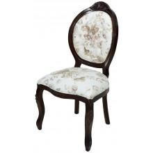 Cadeira Medalhão IV Entalhada - Capuccino e Flores Café
