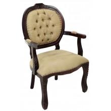 Cadeira Medalhão II Entalhada - Capuccino e Marrom com Tachas