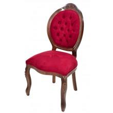 Cadeira Medalhão IV Entalhada - Capuccino e Vermelho Escuro