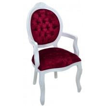 Cadeira Medalhão IV Entalhada com Braço -  Branco com Veludo Brilhante Vermelho