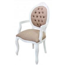 Cadeira Medalhão IV Entalhada com Braço -  Provençal Branca com Marrom Texturizado