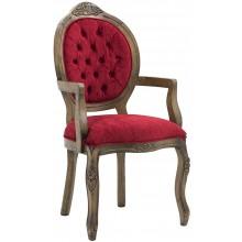 Cadeira Medalhão IV Entalhada com Braço Imbuia e Vermelho + Cores