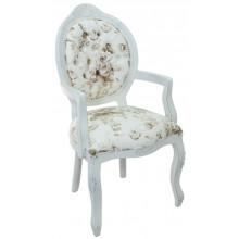 Cadeira Medalhão IV Entalhada com Braço -  Provençal Branca com Flores Café