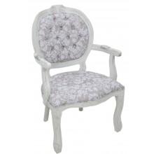 Cadeira Medalhão II Entalhada - Provençal Branco e Floral Cinza