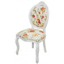 Cadeira Medalhão IV Entalhada - Provençal Branco com Listrado Cinza e Floral Laranja