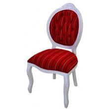 Cadeira Medalhão IV Entalhada - Provençal Branco com Riscado Vermelho