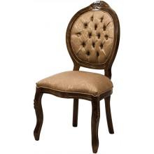 Cadeira Medalhão IV Entalhada - Capuccino e Arabesco Marrom