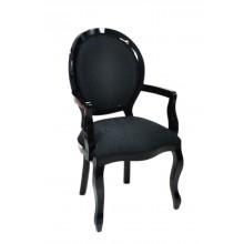 Cadeira Medalhão III Lisa com Braço - Preta