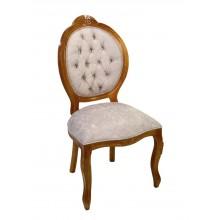 Cadeira Medalhão IV Entalhada - Mel com Veludo Amassado Creme