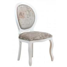 Cadeira Medalhão III Lisa - Branca com Brilhante Cinza