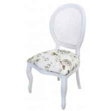 Cadeira Medalhão III Lisa - Branca com Tecido Flores Café e Encosto em Tela