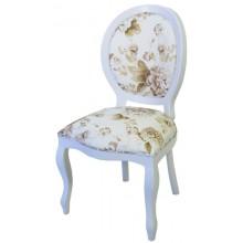 Cadeira Medalhão III Lisa - Branco com Flores Café