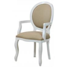 Cadeira Medalhão III Lisa com Braços - Branca com Linho Marrom