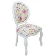 Cadeira Medalhão III Lisa - Branca com Listrado Cinza e Floral Lilás
