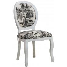 Cadeira Medalhão III Lisa com Capitonê Branca com Textura Parisiense