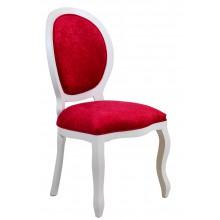 Cadeira Medalhão III Lisa - Branca com Veludo Amassado Vermelho