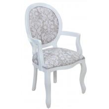 Cadeira Medalhão III Lisa com Braço - Branco com Floral Cinza