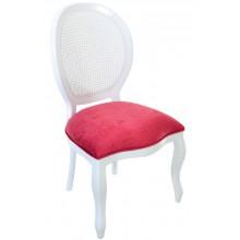 Cadeira Medalhão III Lisa com Encosto em Tela - Branca com Veludo Amassado Vermelho