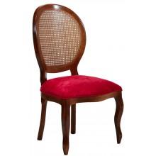 Cadeira Medalhão III Lisa com Encosto em Tela - Imbuia e Veludo Amassado Vermelho