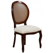 Cadeira Medalhão III Lisa com Encosto em Tela - Imbuia e Linho Branco