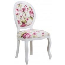 Cadeira Medalhão III Lisa com Capitonê - Branca e Floral Violeta + Cores
