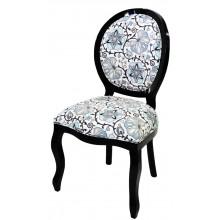 Cadeira Medalhão III Lisa - Preta e Floral Cinza e Preto
