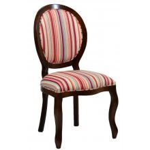 Cadeira Medalhão III Lisa - Capuccino e Listrado Vermelho