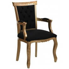 Cadeira Luis XV Entalhada com Braço - Dourada e Texturizado Preto