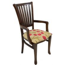 Cadeira Plaza I com Braço - Capuccino e Flores Vermelhas