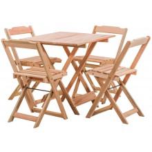 Conjunto Mesa Dobrável 70x70cm com 4 Cadeiras Dobráveis