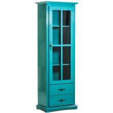 Cristaleira Colorida 1 Porta / 2 Gavetas Verniz Azul Turquesa + Cores