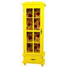 Cristaleira Colorida 1 Porta / 1 Gaveta - Amarelo e Fundo em Tecido