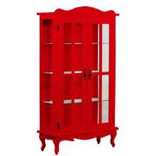 Cristaleira Colorida 2 Portas e Aberturas Laterais - Vermelha