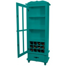 Cristaleira Colorida 1 Porta e 1 Gaveta Verde + Adega