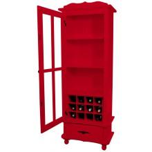 Cristaleira Colorida 1 Porta e 1 Gaveta Vermelha + Adega
