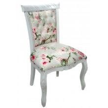 Cadeira Luis XV Entalhada sem Braço - Provençal Branca e Florido Rosa