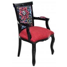 Cadeira Luis XV Entalhada com Braço - Preta e Vermelha