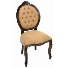 Cadeira Medalhão IV Entalhada - Capuccino e Veludo Amassado Caramelo