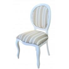 Cadeira Medalhão III Lisa - Branco com Listrado Café