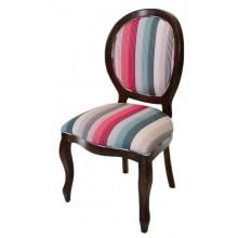 Cadeira Medalhão III Lisa - Capuccino + Listrado Rosa e Azul