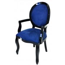 Cadeira Medalhão III Lisa com Braço - Preta e Azul Marinho