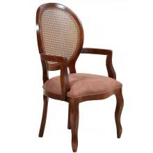 Cadeira Medalhão III Lisa Com Braço e Encosto em Tela - Imbuia e Caramelo