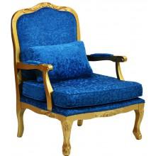 Poltrona Imperatriz Dourado e Azul