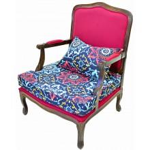 Poltrona King Capuccino e Vermelho com Floral Azul